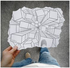This is a really cool way to do a one-point perspective drawing. Instead of having a horizon, all the buildings seem to be coming out of the ground. I like how the artist added his shoe to the illusion. High School Art, Middle School Art, Classe D'art, Ben Heine, Perspective Drawing, Point Perspective, Forced Perspective, Perspective Photos, School Art Projects