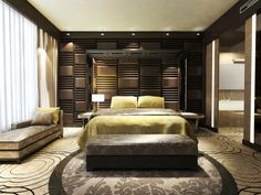 Luxury masculine master bedroom with deep wood panel walls, raised bed, day bed and patterned carpeting