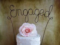 ENGAGED Cake Topper Banner - Engagement Party Cake Topper, Rustic Wedding Decoration, Shabby Chic Wedding, Garden Party on Etsy, $30.00