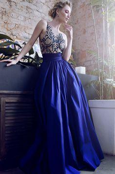 Vestido azul longo de festa