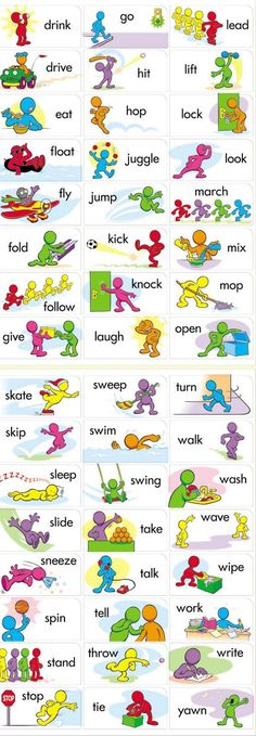 Printable verbs for flashcards / fluency in English vocabulary. Can be used for gamification to consolidate knowledge. English Time, English Verbs, Kids English, English Study, English Class, English Lessons, English Grammar, Teaching English, English Speaking For Kids