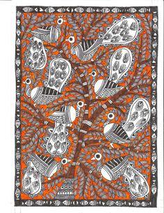 Folk Art, Indian Artwork, Tribal Art, Madhubani Art, Mural Art, Indian Folk Art, Madhubani Painting, Tribal Art Drawings, Bird Art