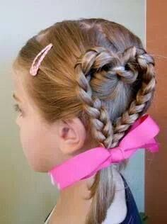 Cute little girl hairstyle for Valentine day or crazy hair day Pretty Hairstyles, Braided Hairstyles, Heart Hairstyles, Hairdos, Funny Hairstyles, Glamorous Hairstyles, Children Hairstyles, Easy Little Girl Hairstyles, Little Girl Braids
