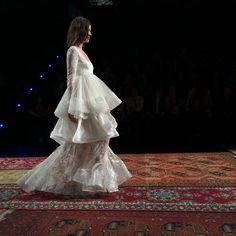 Houghton ruffled long-sleeve wedding dress