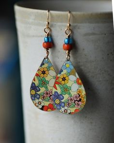 SOLD Vintage Tin Earrings Flowers Blue Multicolor by EntwyneDesigns