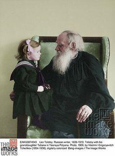Tolstoy with his granddaughter Tatiana in Yasnaya Polyana. Photo, 1909