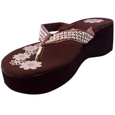 Easy USA Womens W051199 Platform Wedge Rhinestone Flip Flops Chocolate Size 10 ** Check out the image by visiting the link.(This is an Amazon affiliate link and I receive a commission for the sales)