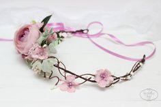 Powder pink flower crown Wedding hair wreath Flower by ByKochetova