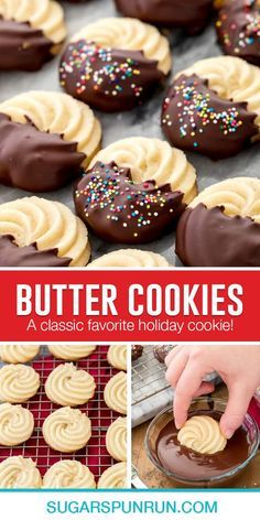 Butter Cookies Christmas, Easy Holiday Cookies, Xmas Cookies, Cookies Kids, Santa Cookies, Italian Butter Cookies, Butter Cookies Recipe, Cookie Butter, Easy Cookie Recipes