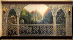 rivendell - Google Search Medieval, Mural Wall Art, Forest Fairy, Elvish, Window View, Dream Decor, Art Plastique, Middle Earth, Lord Of The Rings