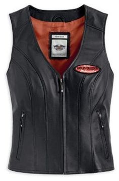 #Womens Harley Davidson Classica Leather Vest 98028-12VW  Women's Vests #2dayslook #fashion #Vests www.2dayslook.com