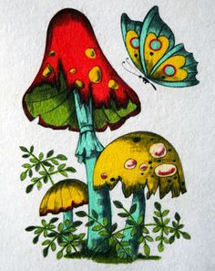 Make the shrooms daisies. Mushroom Drawing, Mushroom Art, Mushroom Tattoos, Hippie Art, Arte Pop, Psychedelic Art, Wall Collage, Metal Art, Art Inspo