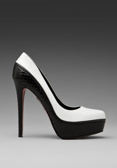 I want these!    BOUTIQUE 9 Kya Pump in Black/White at Revolve Clothing