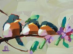 Three Barn Swallows no. 4 original bird oil painting by Angela Moulton 6 x 8 inch on panel ready to ship April 14 by prattcreekart on Etsy