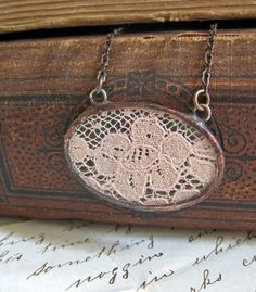 Vintage Lace Pendant with Rustic Chain