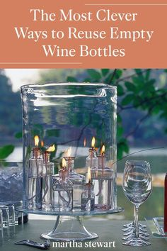 Transform any glass bottles into pretty home decor like flower vases and tabletop centerpieces, decanters for everything from soaps and salad dressings, and hostess gifts. #marthastewart #diydecor #diyprojects #diyideas #hobby Empty Wine Bottles, Glass Bottles, Table Arrangements, Table Centerpieces, Backyard Patio Designs, House With Porch, Wine Parties, Wine Bottle Crafts, Diy Arts And Crafts