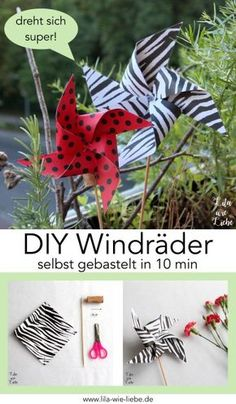 Crafting a windmill - 10 minutes of DIY - purple like love-Windrad basteln – 10 Minuten DIY – Lila wie Liebe Windmill handcrafted – 10 minutes DIY - Herb Garden Pallet, Diy Herb Garden, Recycled Crafts, Diy And Crafts, Crafts For Kids, Recycled Materials, Diy Pinwheel, Backyard Party Games, Garden Boxes