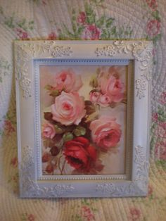 Mouse over image to zoom    Have one to sell? Sell it yourself  VINTAGE PINK ROSE PRINT HP FRAME SHABBY COTTAGE CHIC ROMANTIC