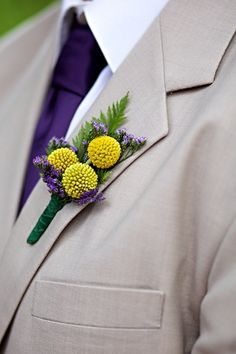 purple and yellow billy balls boutonnieres.  Wrap in a Boutstix Floral Magnet!   www.boutstix.com