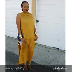 PHILTHY PHOTO SNATCH. How cute does Philthy Ragz Owner, @shes_sophilthy look in the new Mustard Tie Neck Tunic? Available now for $54.00 in One Size Fits Most.