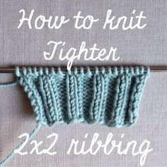 """How to Tighten 2x2 Ribbing, VIDEO - For the first purl stitch of every p2 twist the working yarn clockwise around the front of the needle (opposite direction to normal). This effectively twists the stitch and hugs it in closer to the previous knit stitch. If you're working flat, untwist this stitch on the return row by knitting through the back loop (the twisted purl stitch is now a knit stitch). At the same time keep wrapping every first purl stitch clockwise."""""""
