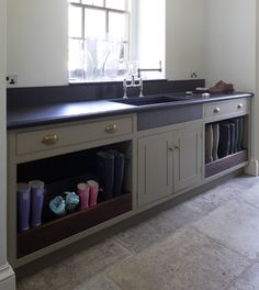 Mud room Boot Storage idea for under a counter in laundry room - Stackables next to it Boot Storage, Closet Storage, Storage Shelves, Boot Room Utility, Utility Sink, Laundry Cabinets, Cupboards, Kitchen Utilities, Laundry Room Organization