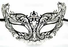 Stunning Laser Cut Masquerade Mask Costume Extravagant Inspire Design Black with Clear Crystals