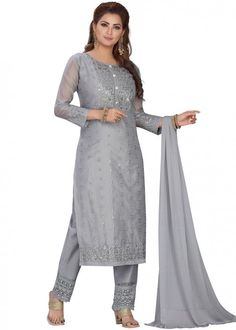 #grey #embroidered #readymade #salwar #kameez #traditional #indian #salwar #suit #indianfashion #party #wear #collection #eid #2021 #ootd Prom Suit, Grey Trousers, Trouser Suits, Diwali, Readymade Salwar Kameez, Straight Cut Pants, Pantalon Cigarette, Slim Fit Pants, Festival Wear
