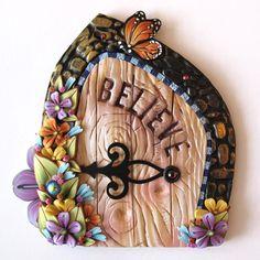 Believe Fairy Door Pixie Portal Fairy Garden Door by Claybykim