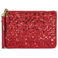 Coach Signature Flat Zip Red Leather Wristlet Case (4.510 RUB) ❤ liked on Polyvore featuring bags, handbags, clutches, purses, coach wristlet, mini pochette, red wristlet, leather clutches and leather man bags