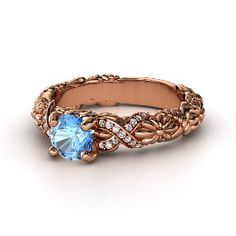 Knotted Bouquet Ring, Round Blue Topaz Rose Gold Ring with Diamond from Gemvara