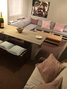 Man cave garage  Pallet lounge , wood table , gaming