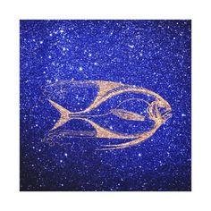 Deep Sea Fish Ocean Life Rose Gold Copper Glitter Canvas Print - glitter glamour brilliance sparkle design idea diy elegant