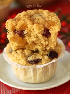 Cranberry, Lemon and Ginger Muffins from texanerin.com – soft, moist and delicious!