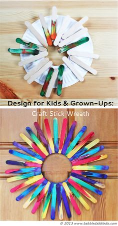 Make a colorful craft stick wreath to brighten your door his spring and summer!
