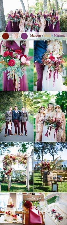Maroon gold and magent purple fall wedding color ideas  / http://www.deerpearlflowers.com/maroon-wedding-color-combos/