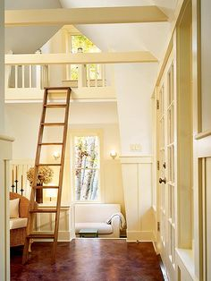 Love the loft & soothing palette. Guest House Loft--Tower Suite - MyHomeIdeas.com