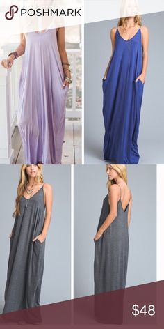 •bralette maxi• Dress features v neck plunge front and pockets in the front.  Long sweeping style.  ❌PRICE FIRM UNLESS BUNDLED❌ small bust measures approx 42 inches, length approx 58.5 inches.  Medium bust 44 inches, approx length 59 inches.  Large bust approx 46 inches, approx length 60 inches. Straps are adjustable, lengths based on straps being at their shortest.  Dress is long and flowy fit. ** BRALETTE NOT INCLUDED** MAKENNA EXCHANGE Dresses Maxi