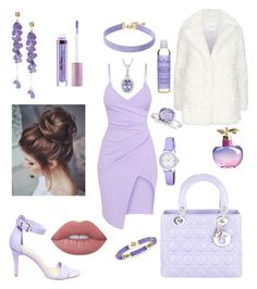 """Lavender Bridesmaid"" by kae-mitch on Polyvore featuring Steve Madden, Christian Dior, Claudie Pierlot, Vanessa Mooney, Laura Ashley, Lime Crime, Nina Ricci, Allurez, Ross-Simons and SheaMoisture"