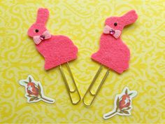 Spring/Easter Bunny Clips - Pink, Felt Planner Clip Bookmark Page Marker, Gold Paperclips, Buy 2 and SAVE! by ClippyChickCreations on Etsy