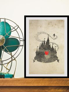 Disney Castle Inspired Silhouette: 11X17 Art Print, With Heart Studios - Gift, Nursery, Vintage, Poster. $25.00, via Etsy.