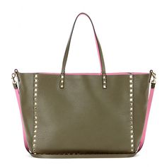Valentino - Rockstud reversible leather shopper - Valentino puts a feminine spin on this season's military trend, offering this reversible shopper that's army-style khaki on one side and bright pink on the other. The brand's signature studs adorn the super-soft leather, giving the roomy tote its iconic finish. seen @ www.mytheresa.com