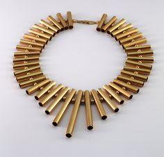 Pierre Cardin 1970s Brass Tube Necklace