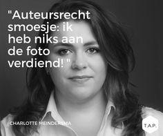 Charlotte Meindersma komt op Talks About Photography praten over auteursrecht en over de smoesjes die mensen gebruiken om auteursrecht te omzeilen