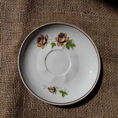 Vintage Soviet Latvia Pottery RPR Riga Saucer Desert Plate floral rose pattern #RigaPorcelainFactory