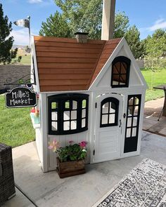 Costco playhouse makeover - Nob Hill Design - Re-Wilding Little Tikes Playhouse, Plastic Playhouse, Girls Playhouse, Backyard Playhouse, Wooden Playhouse, Backyard Playground, Backyard For Kids, Painted Playhouse, Kids Outside Playhouse