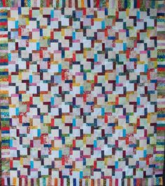 Batik ~ Disappearing 9-Patch Quilt Top ~ 53.5 X 60 (Made in North Carolina)