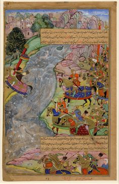 ca. 1600 Mughal miniature painting. Jalál al-Dín Xwárazm-Sháh crossing the Indus river escaping Chinggiz Xán (Ghengis Khan). From the epic Chinggizxánnáma. Painted in gouache on paper. Inscribed. artist (s) Banwarí Khúrd; Dharm Dás