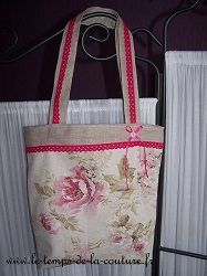 sac cabas beige rose fleuri dentelle