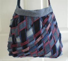 recycled jeans - diagonal weave bag